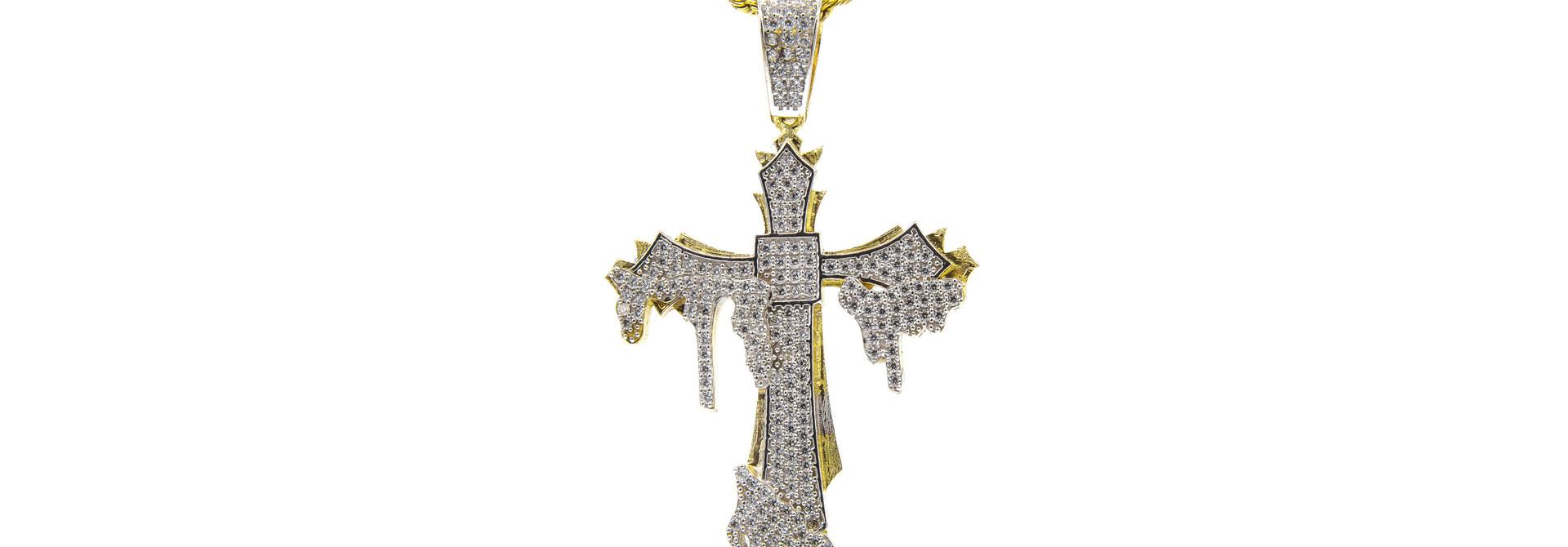 Hanger kruis met smeltend kruis erop met zirkonia's