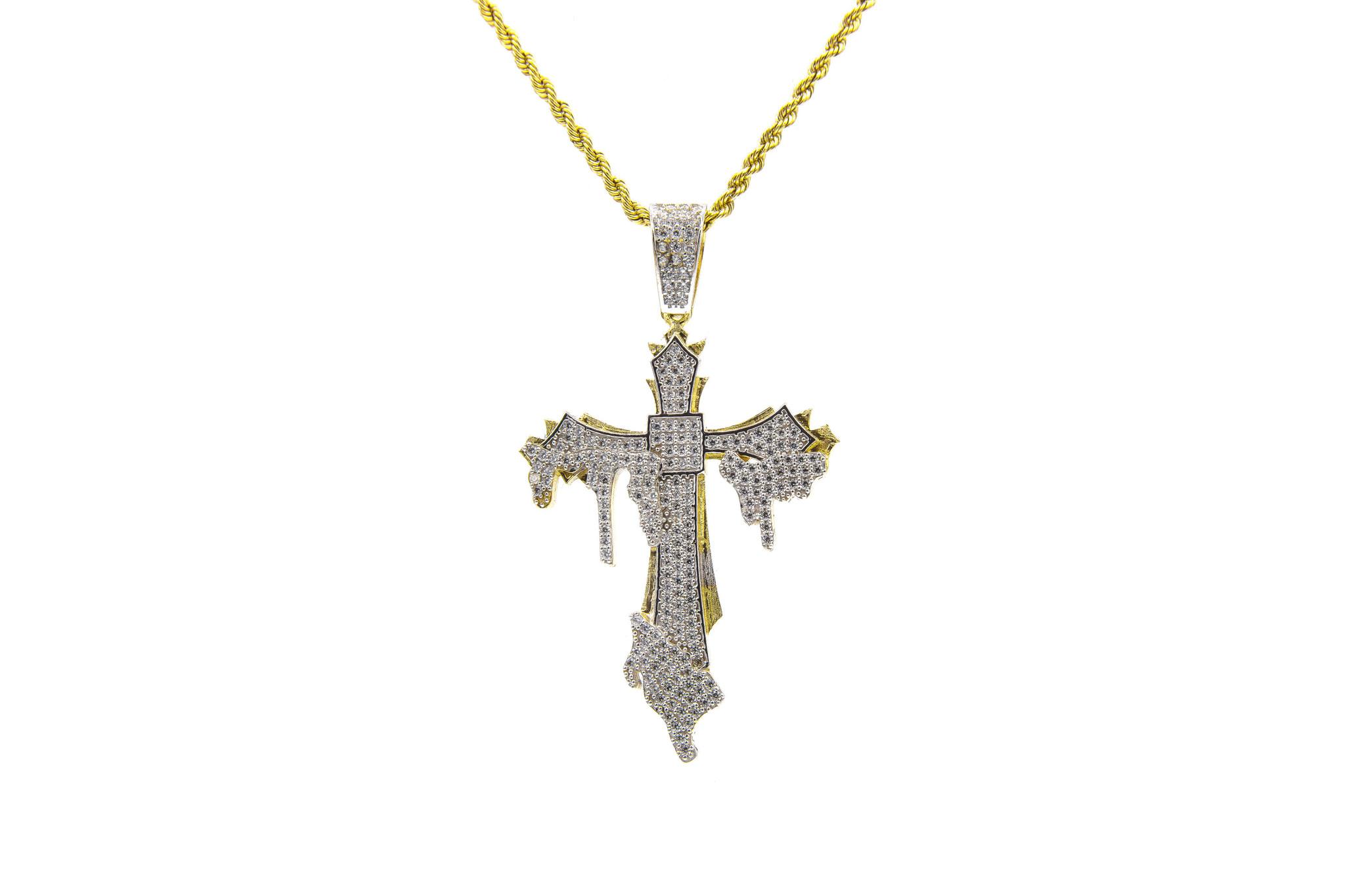 Hanger kruis met smeltend kruis bicolor erop met zirkonia's-2