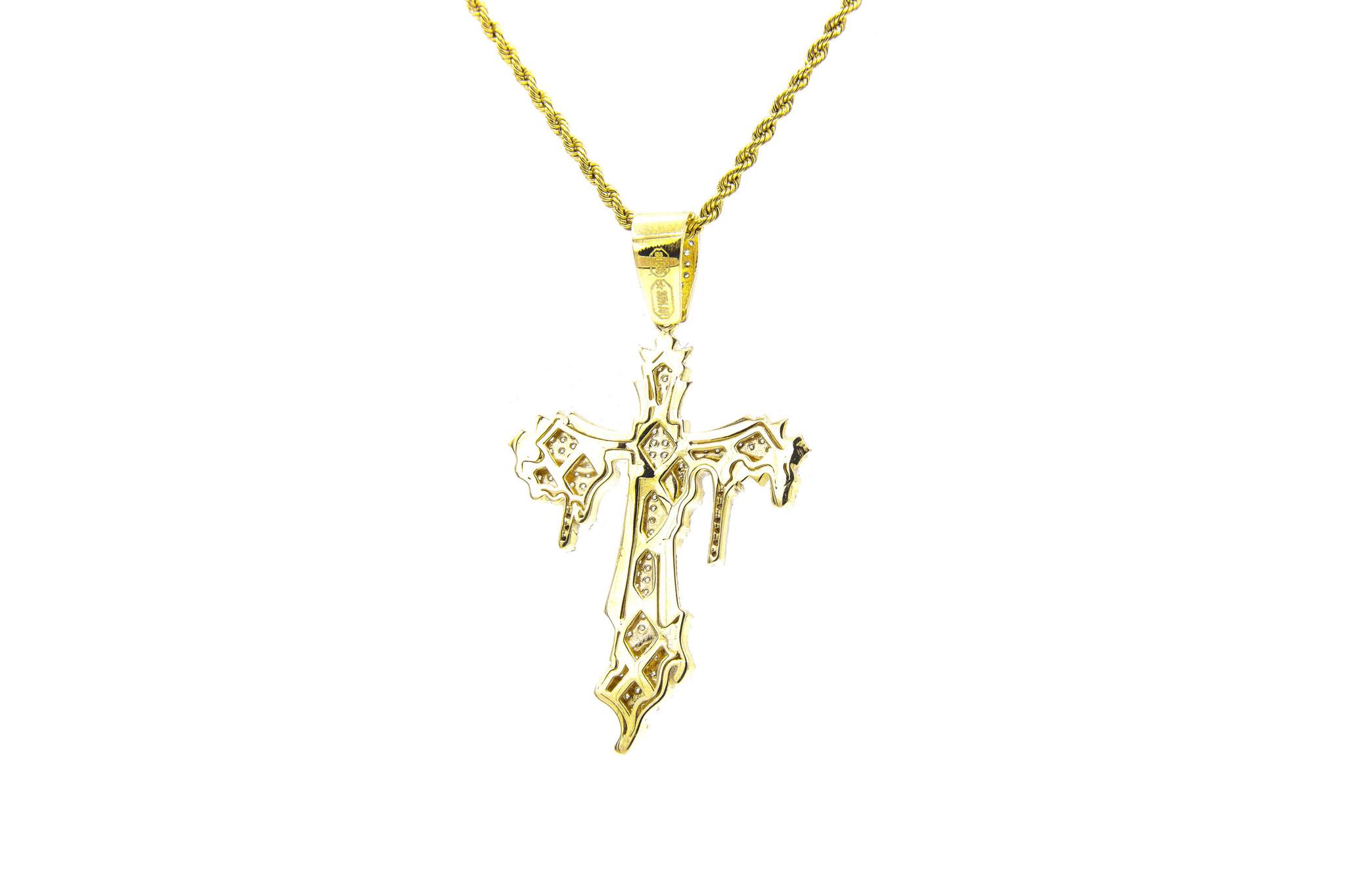 Hanger kruis met smeltend kruis bicolor erop met zirkonia's-3