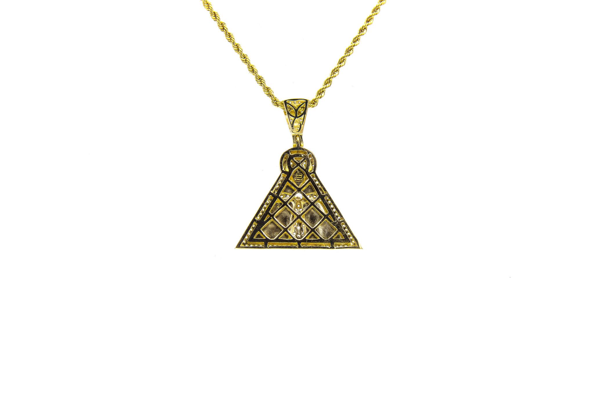 Hanger Ankh op piramide met zirkonia's bicolor-3