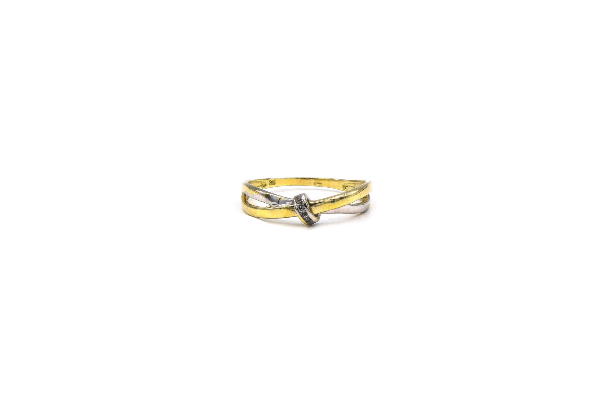 Ring twee gekruisde dunne stroken bicolor-1