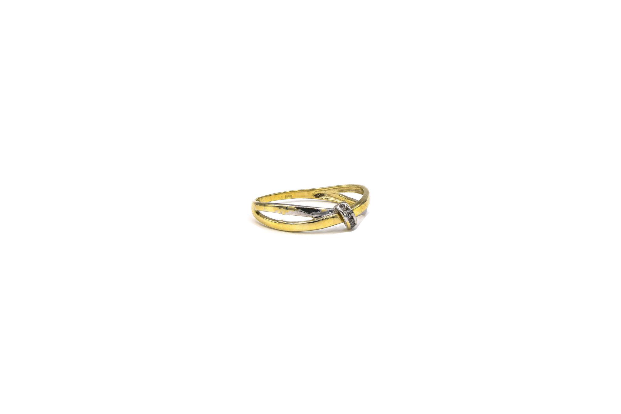 Ring twee gekruisde dunne stroken bicolor-3