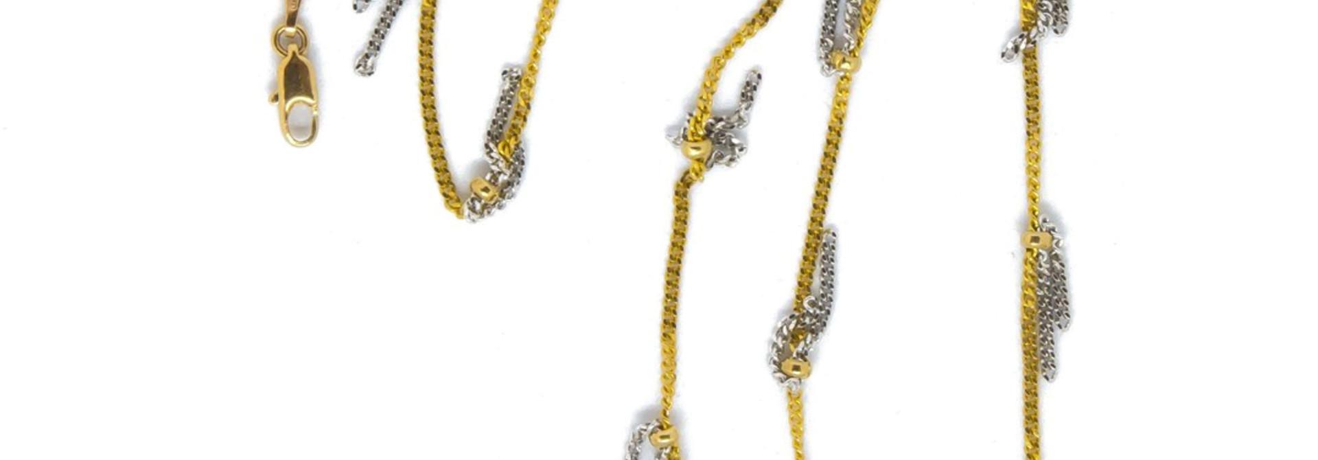 Ketting geelgoud met witgouden sliertjes bicolor