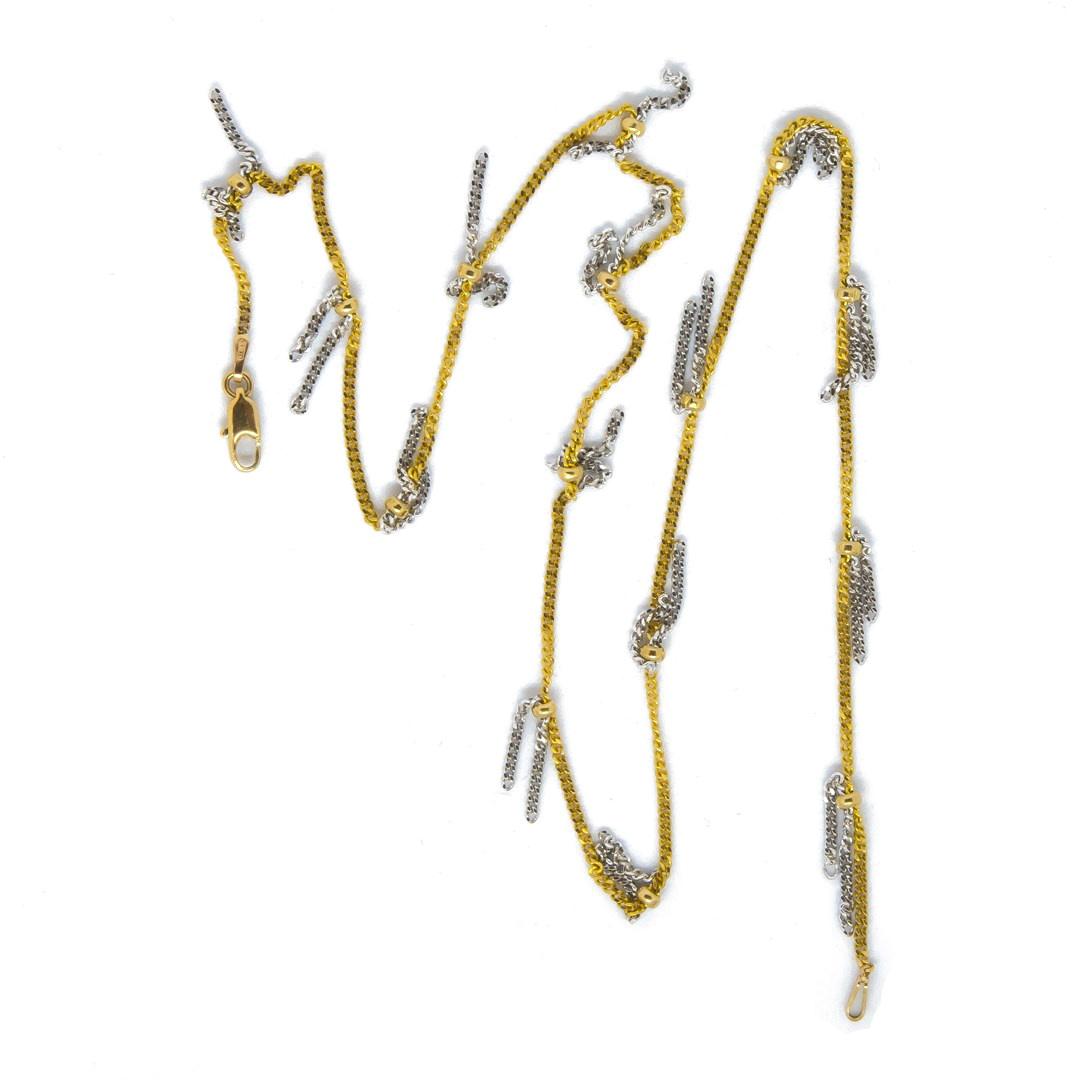 Ketting geelgoud met witgouden sliertjes bicolor-2