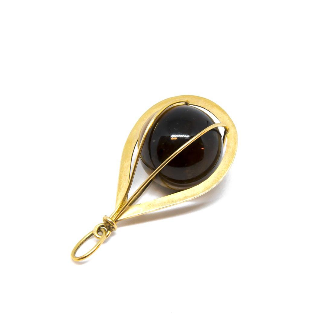 Hanger bruine ronde steen in hanger-1