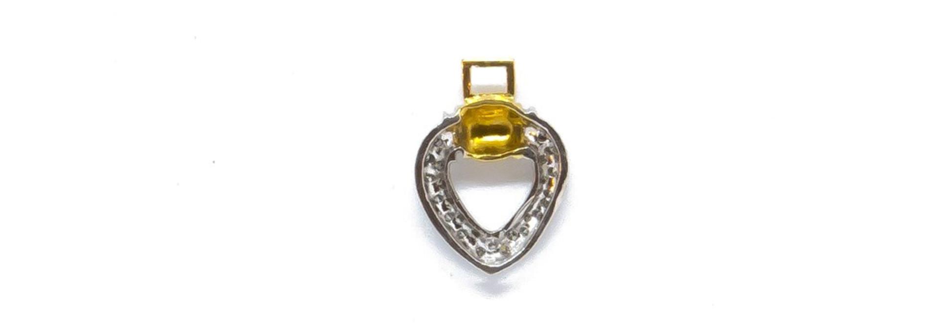 Hanger hartje met diamant bicolor