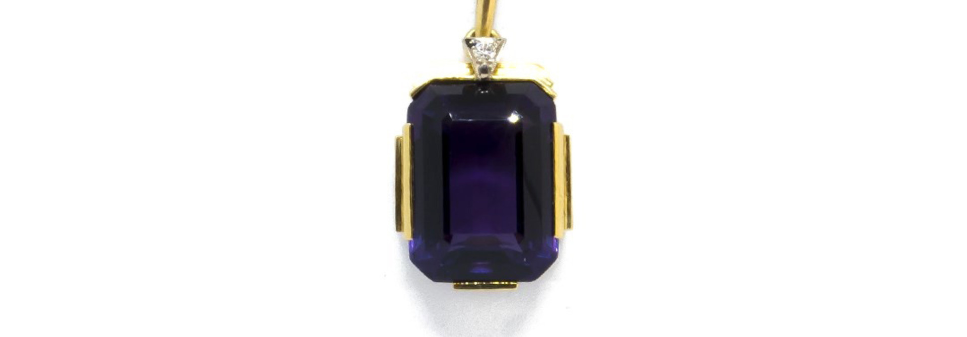 Hanger met paarse (natuurlijke) amethyst en diamant