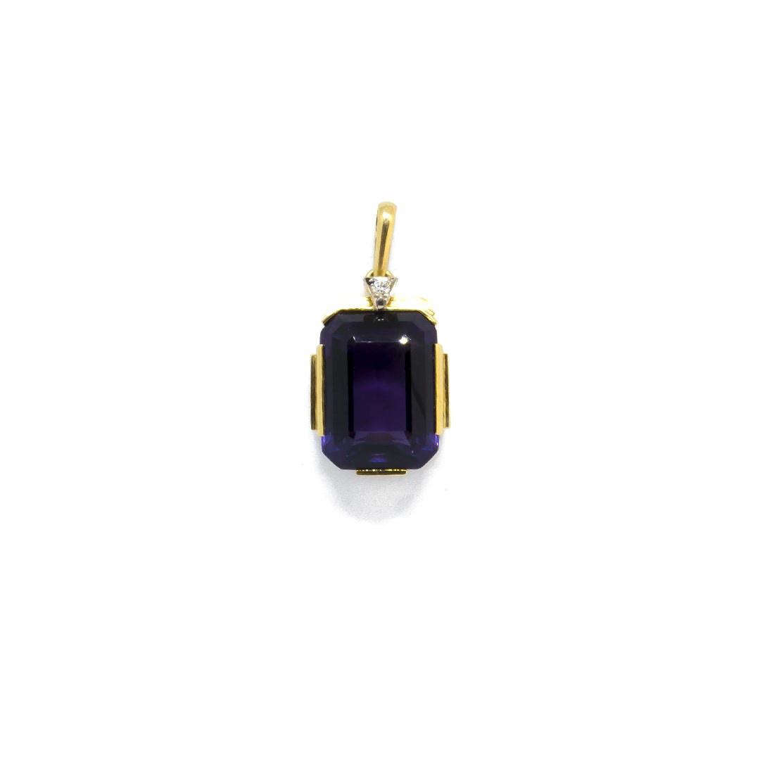 Hanger met paarse (natuurlijke) amethyst en diamant-1