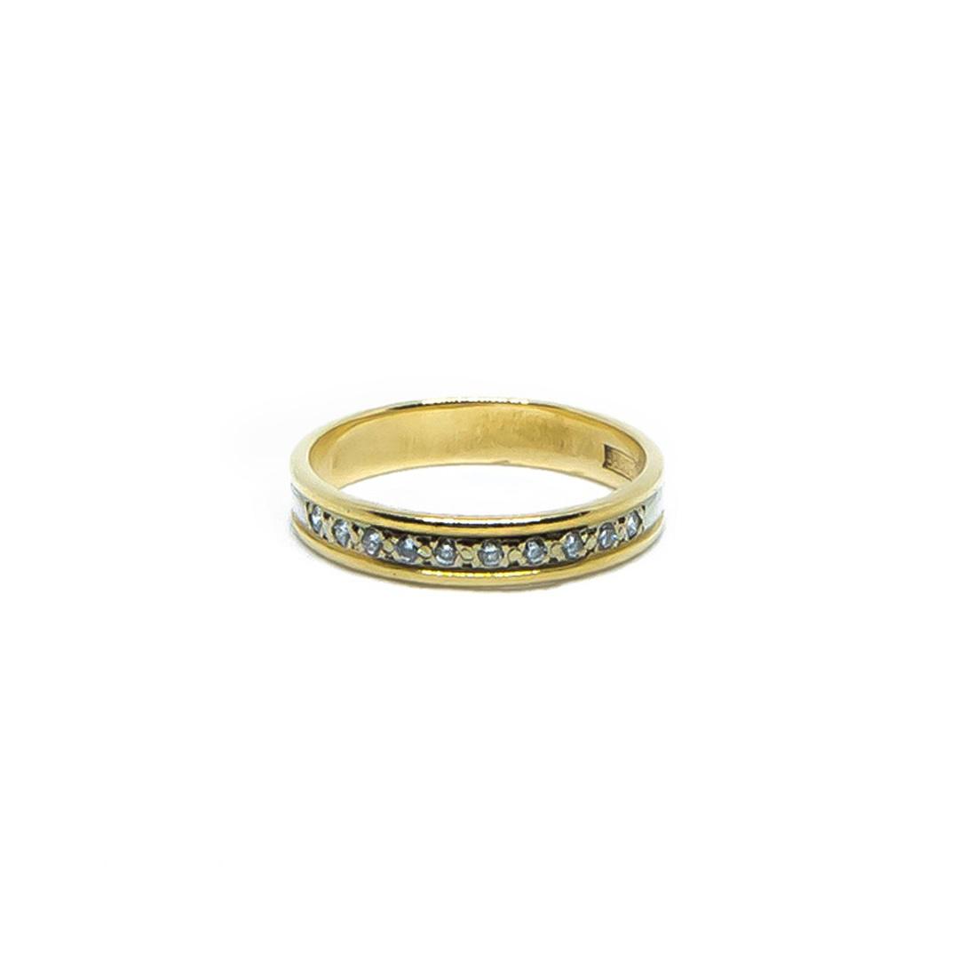 Ring bicolor met diamantjes-1
