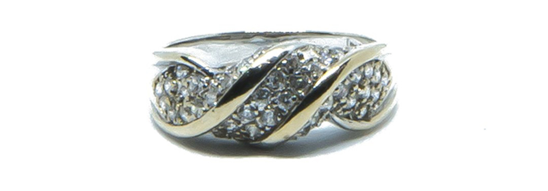 Ring witgoud met witte steentjes