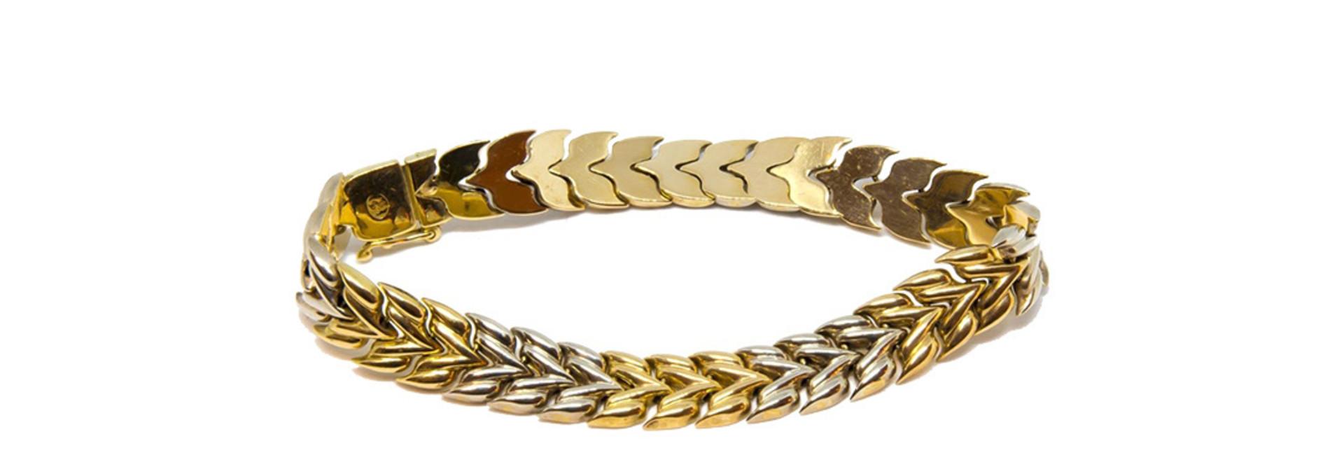 Armband visgraatschakel bicolor