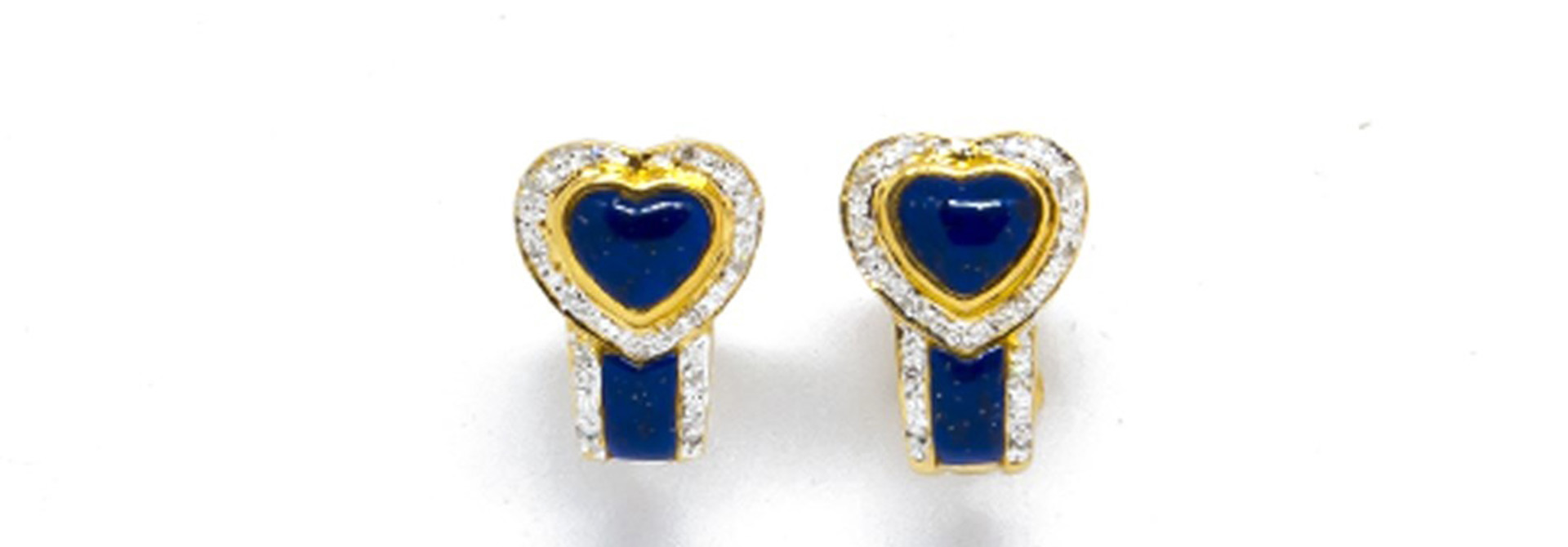 Oorbellen blauwe hartjes en diamant