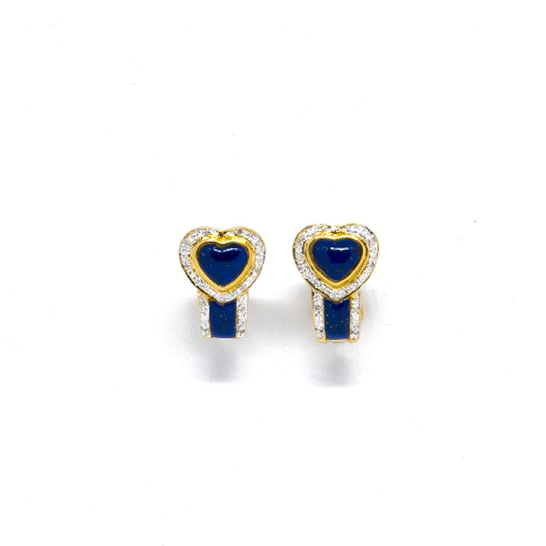 Oorbellen blauwe hartjes en diamant-1