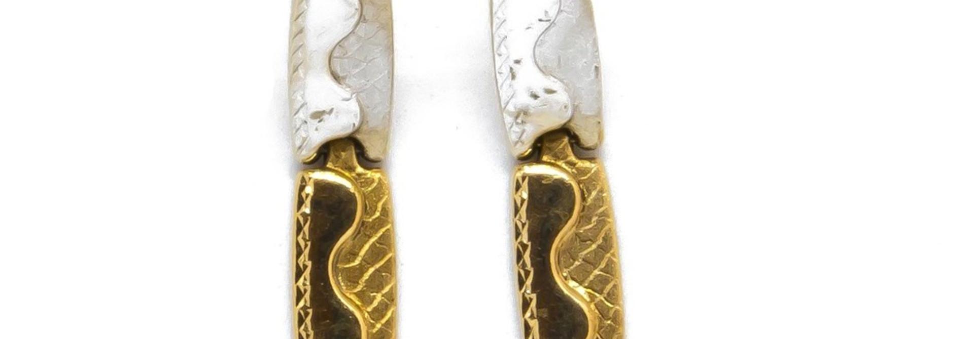 Oorbellen stekers plaatjes flexibel bevestigd bicolor