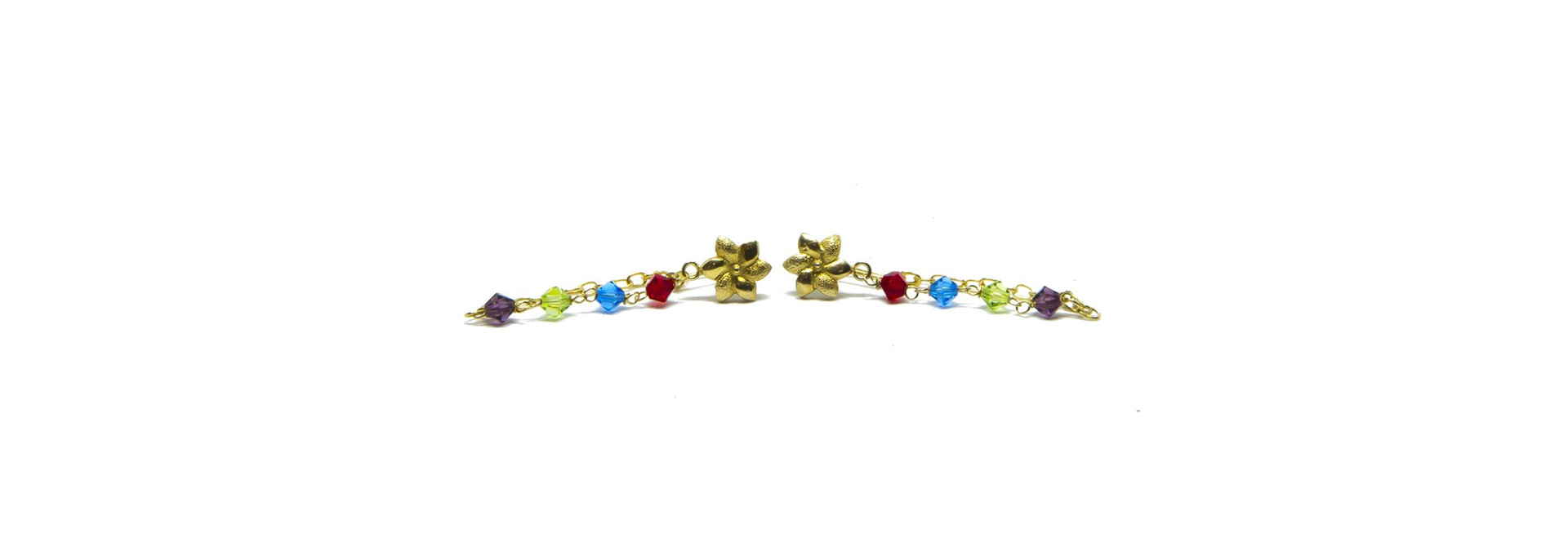 Oorbellen kettinkjes met bloemetje en gekleurde kralen
