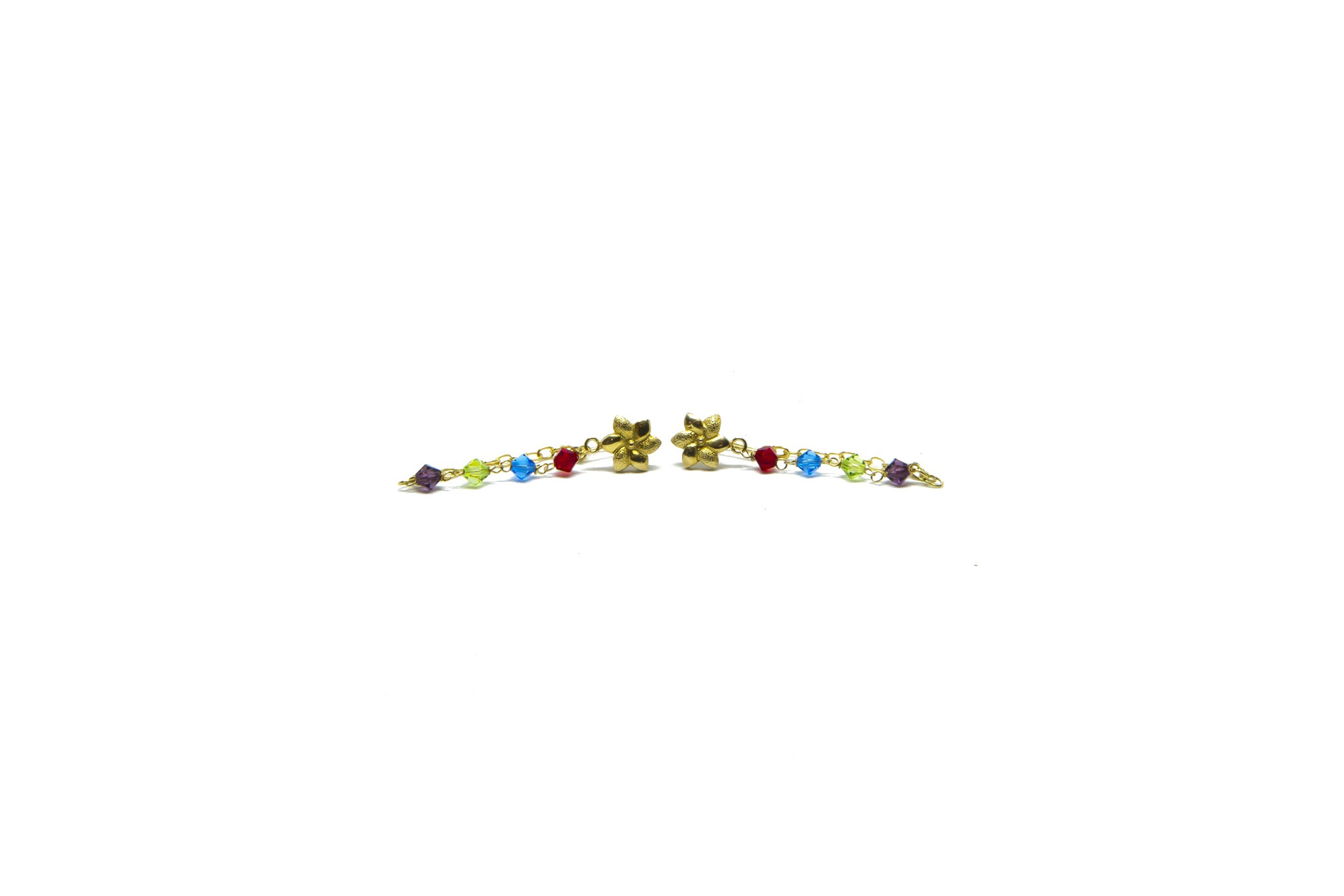 Oorbellen kettinkjes met bloemetje en gekleurde kralen-1