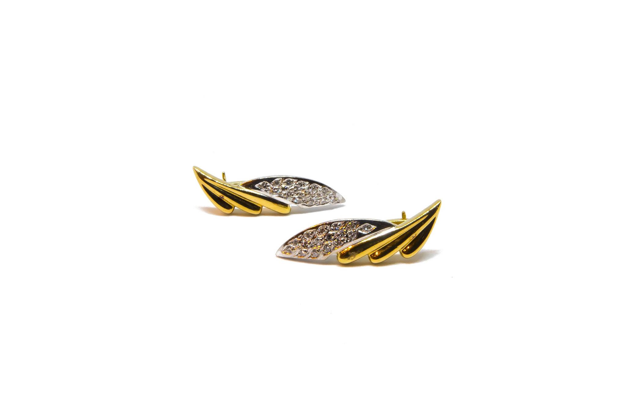 Oorbellen stekers met diamant Bicolor-1