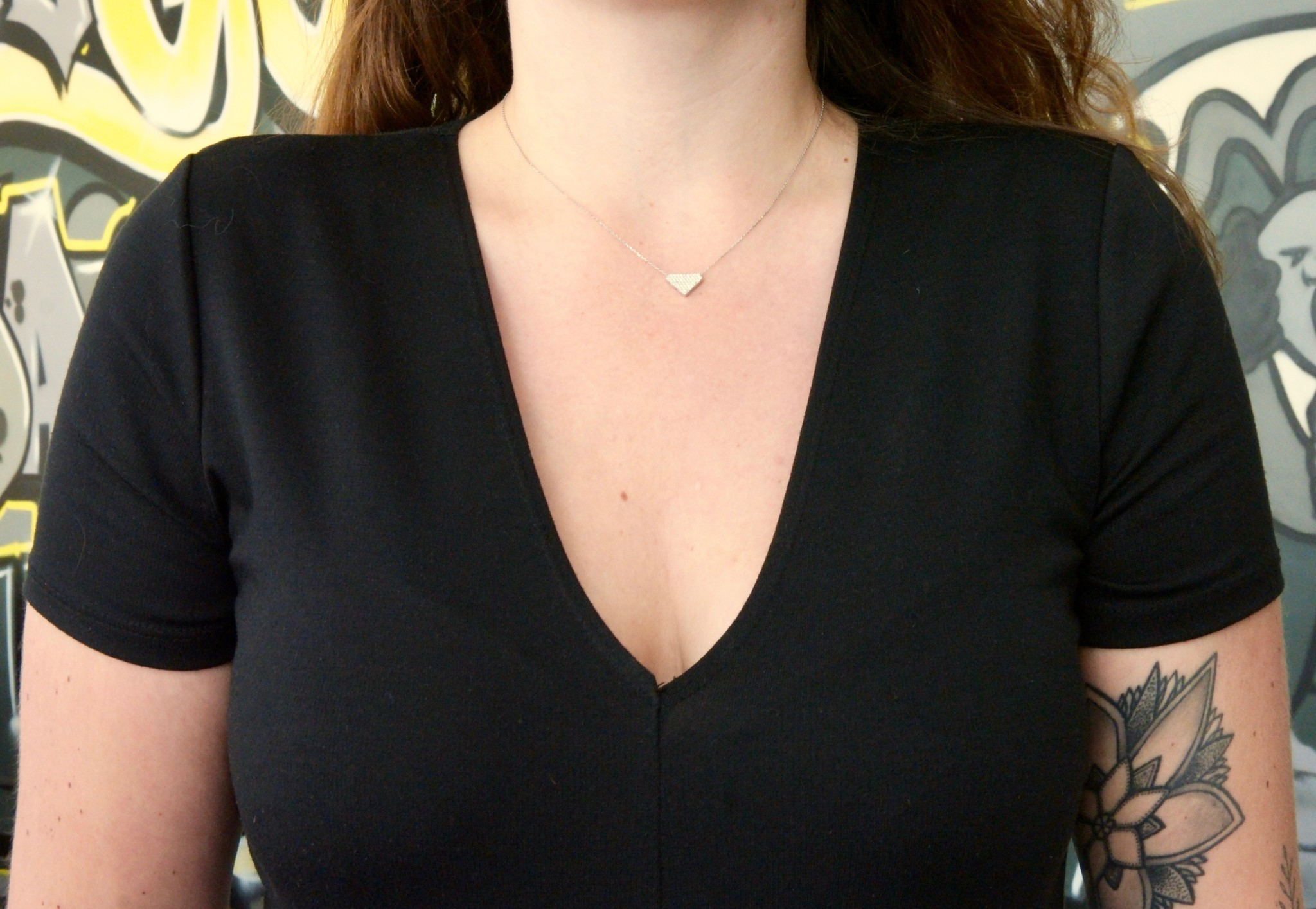 Ketting met vaste hanger diamantvorm witgoud-2
