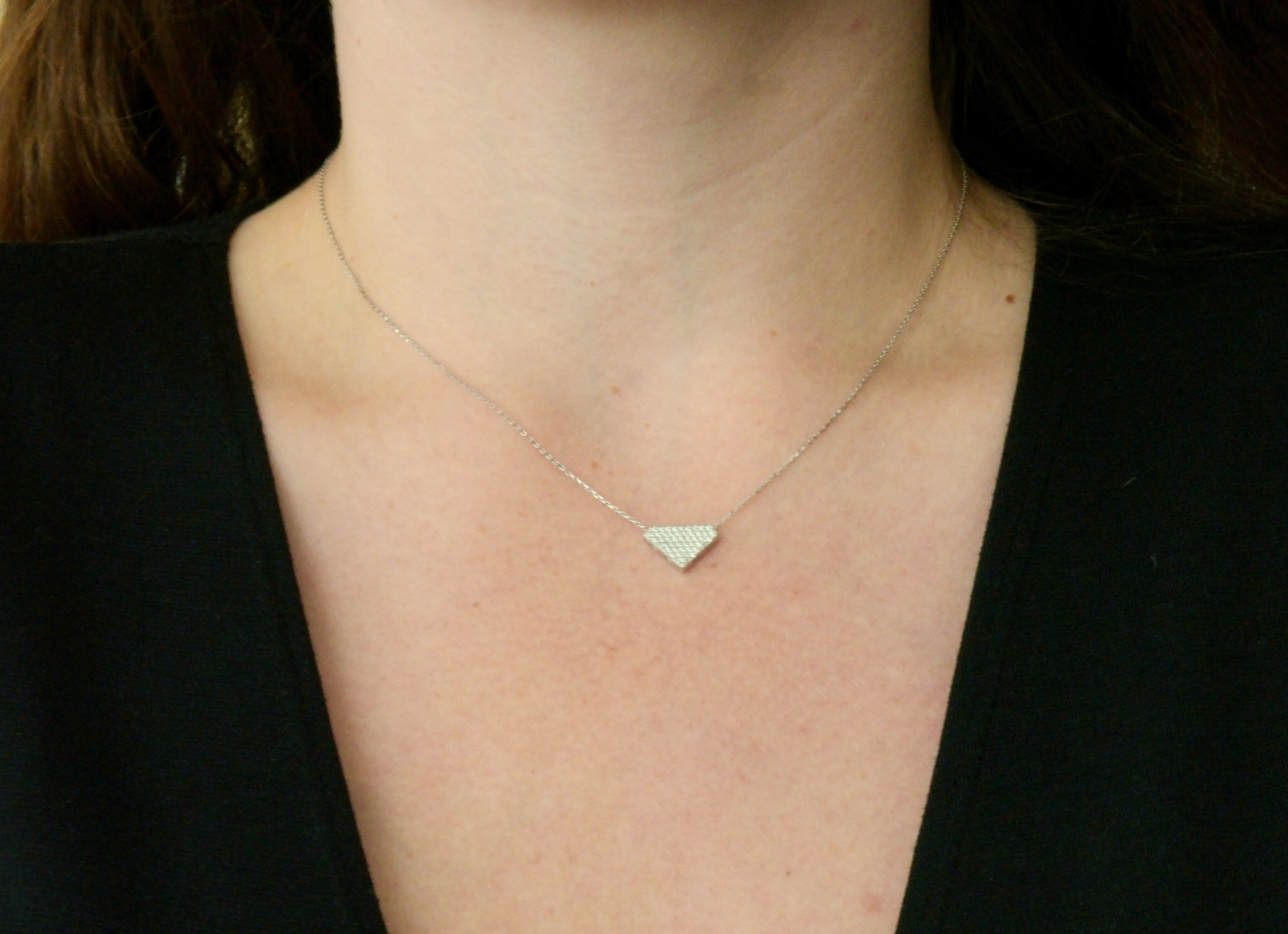 Ketting met vaste hanger diamantvorm witgoud-3