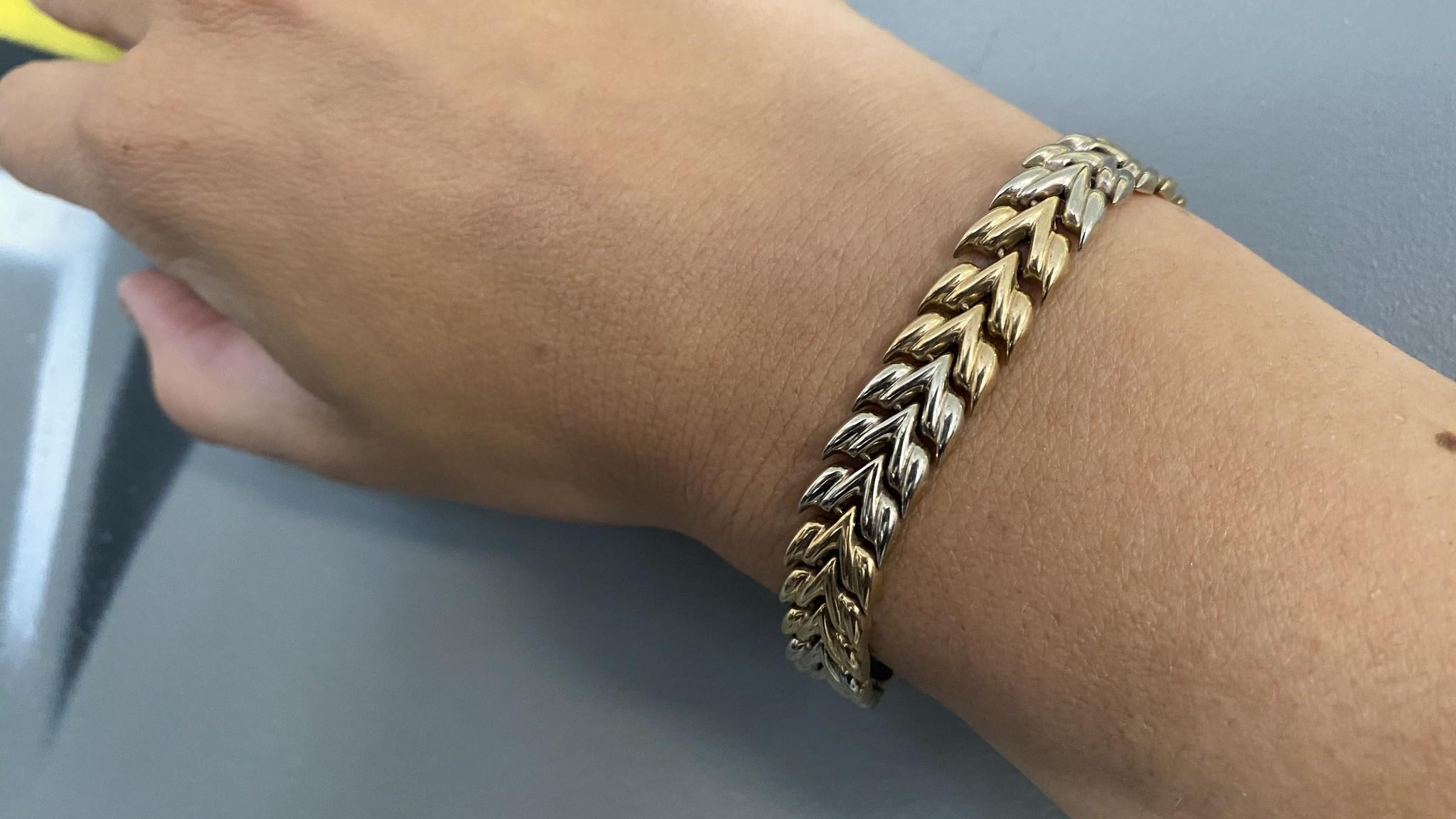 Armband visgraatschakel bicolor-4