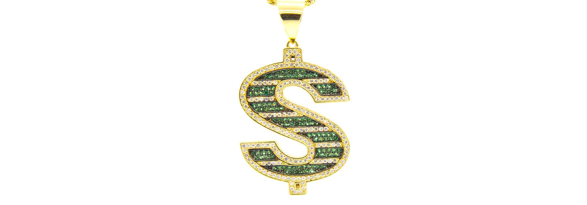 Hanger dollarteken met witte en groene zirkonia's