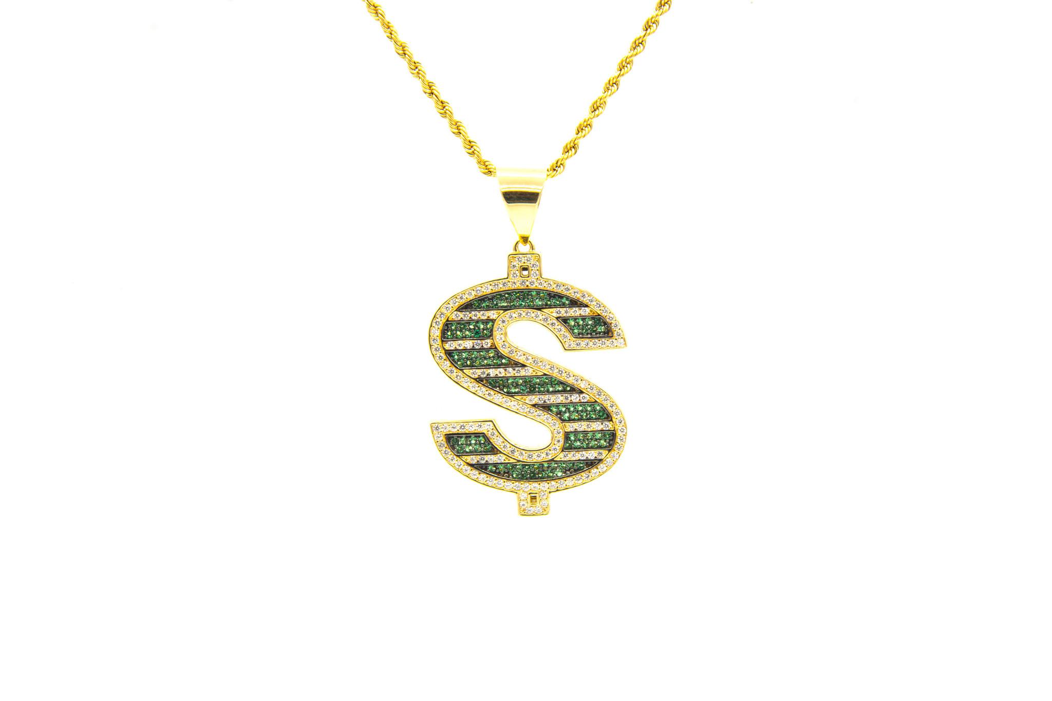 Hanger dollarteken met witte en groene zirkonia's-1