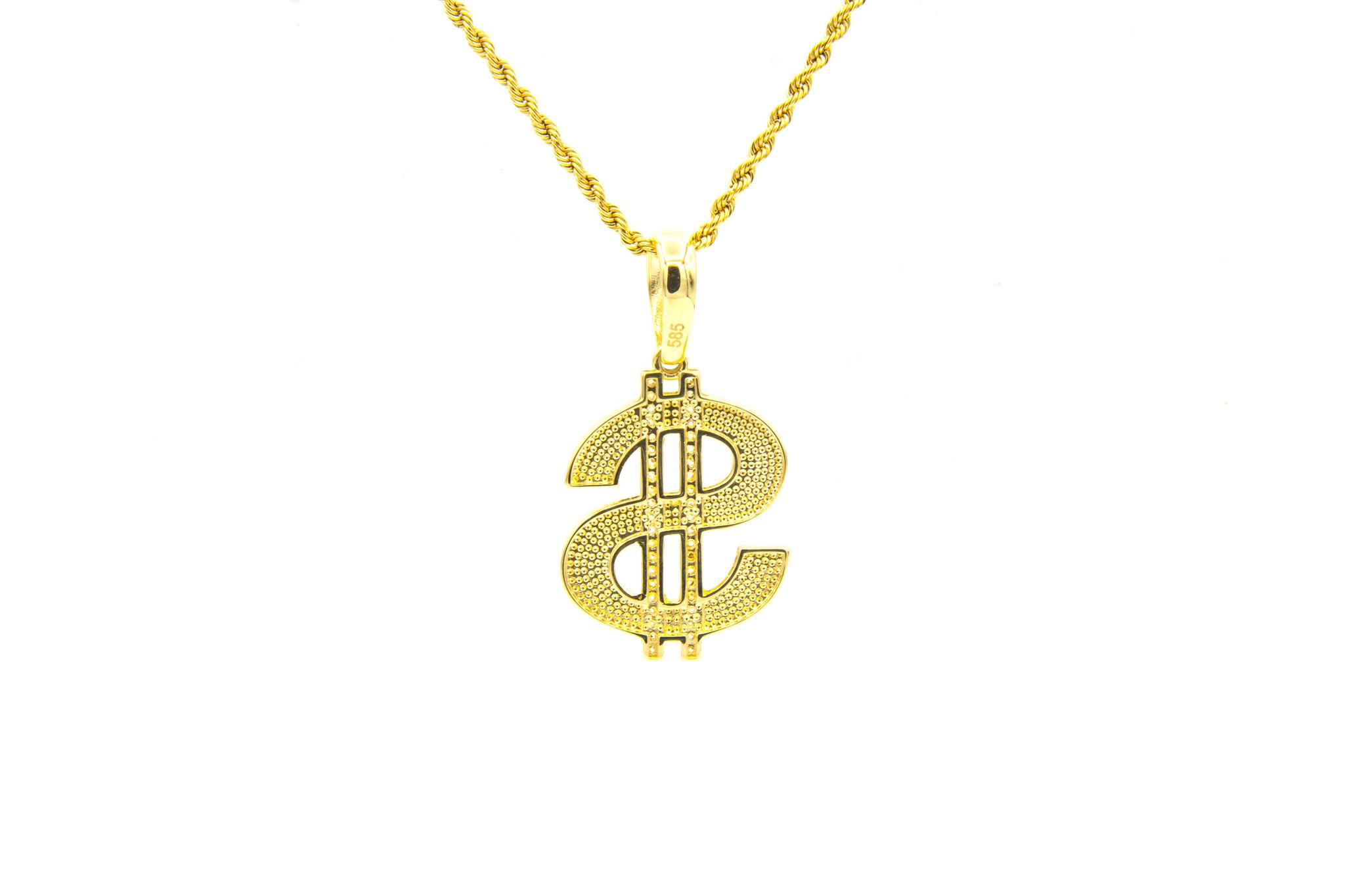 Hanger dollarteken met zirkonia's-3
