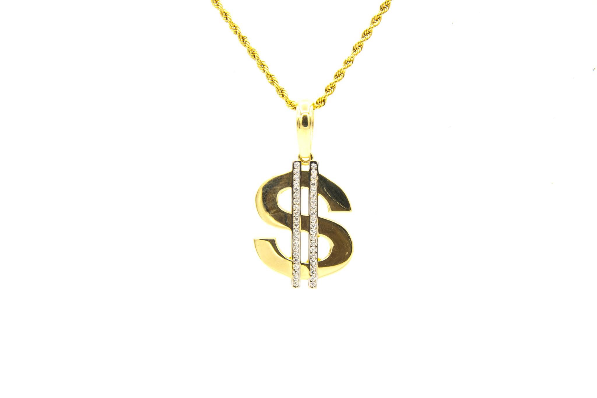 Hanger dollarteken met zirkonia's-5