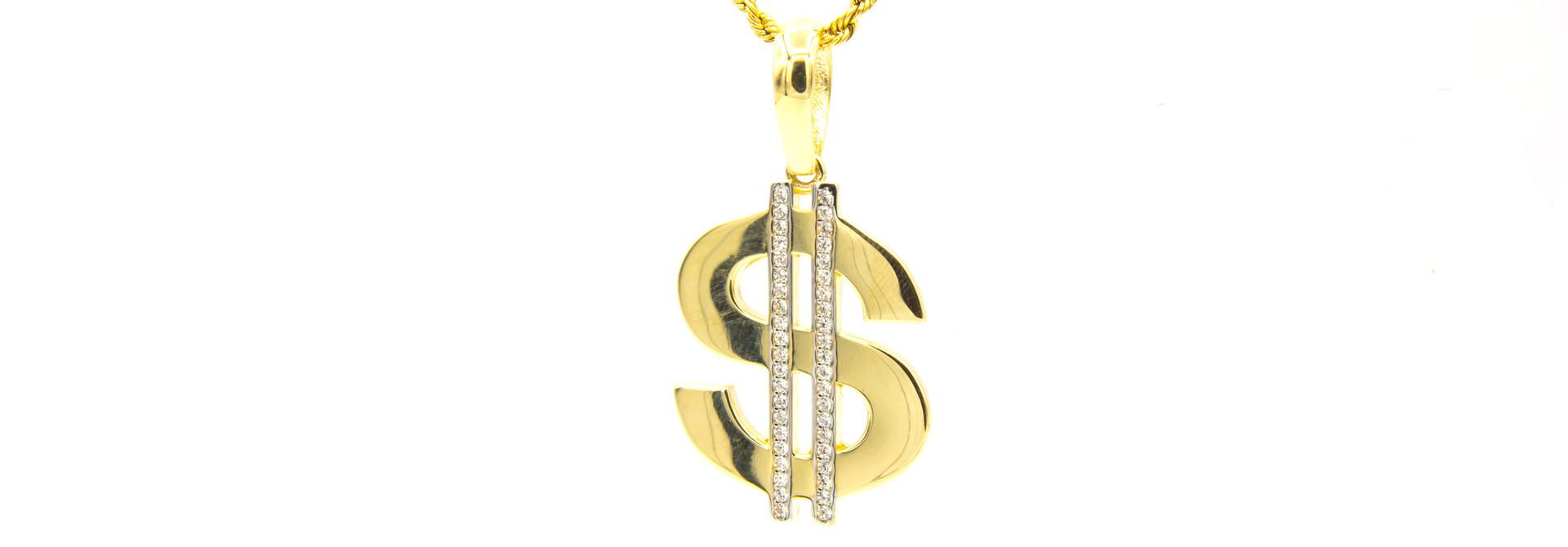 Hanger dollarteken met zirkonia's