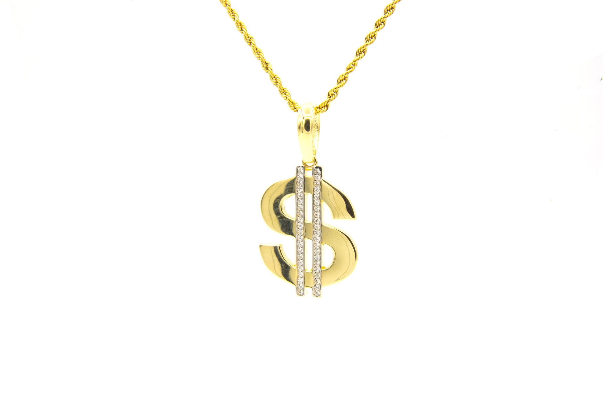 Hanger dollarteken met zirkonia's-1