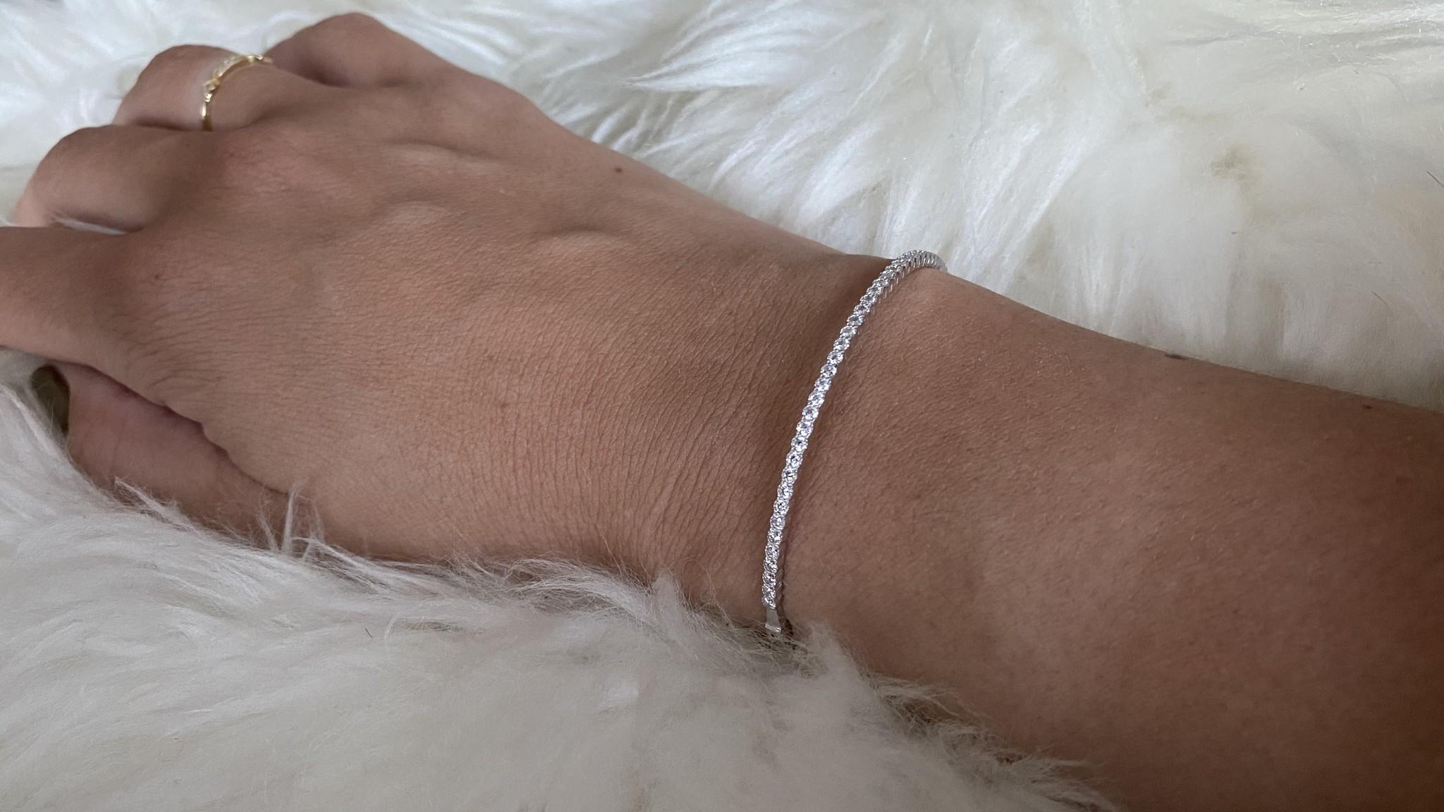 Armband slavenband met zirkonia's witgoud-2
