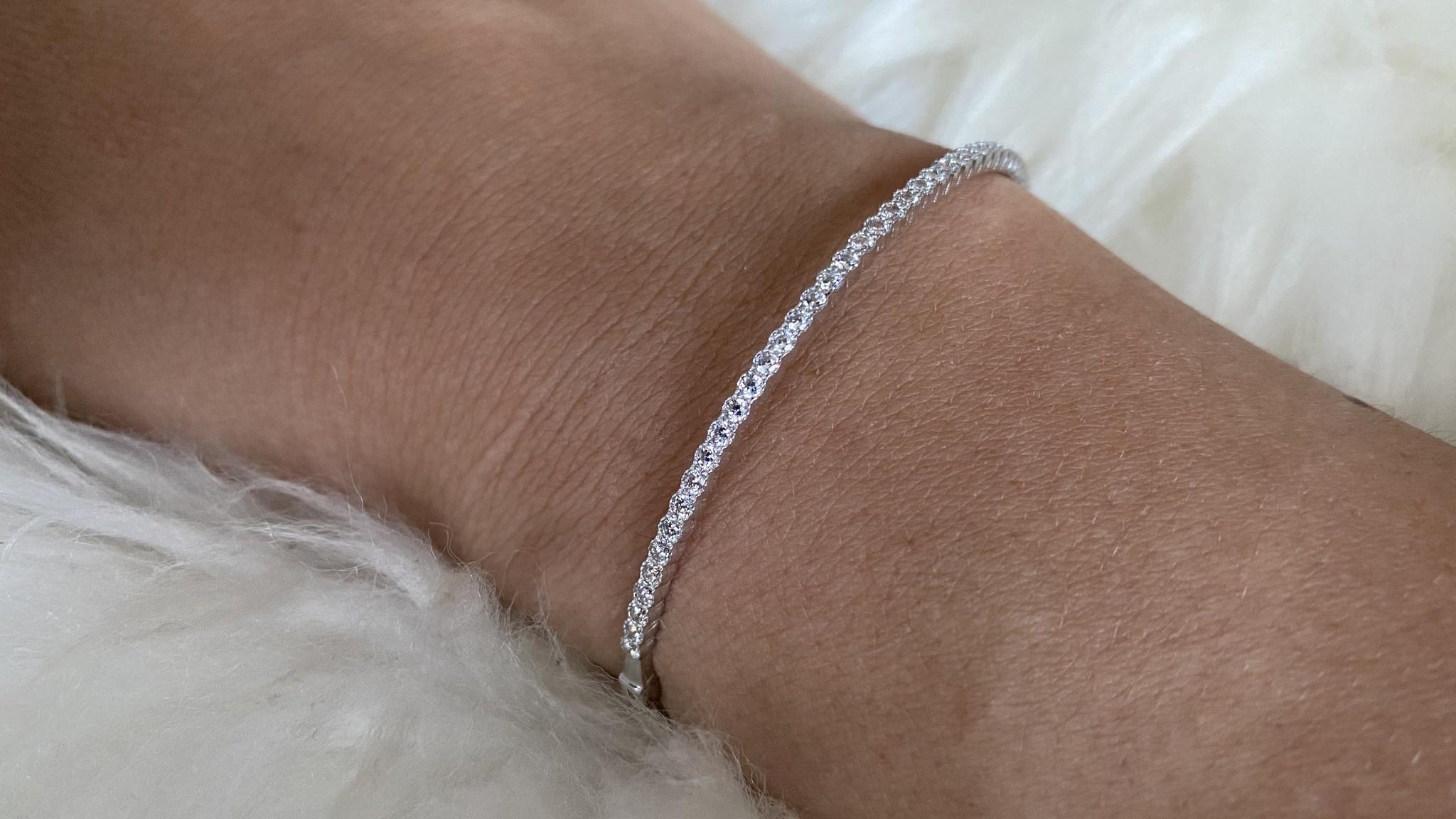 Armband slavenband met zirkonia's witgoud-4
