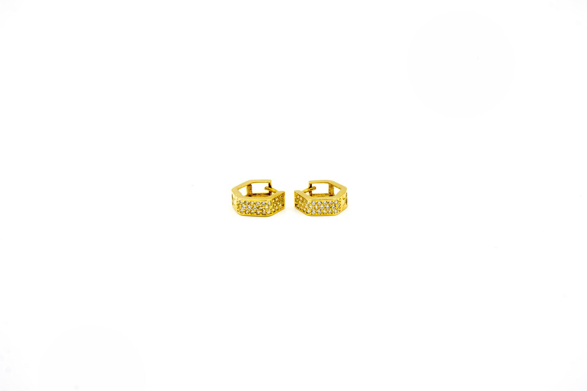 Oorbellen zeshoekige creolen met zirkonia's-1