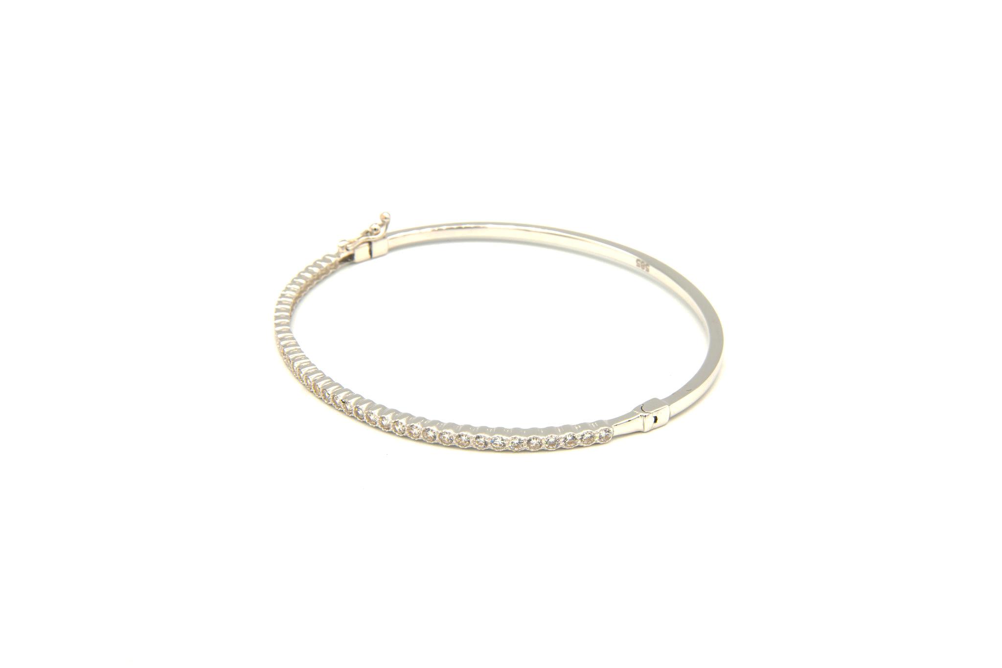 Armband slavenband met zirkonia's witgoud-3
