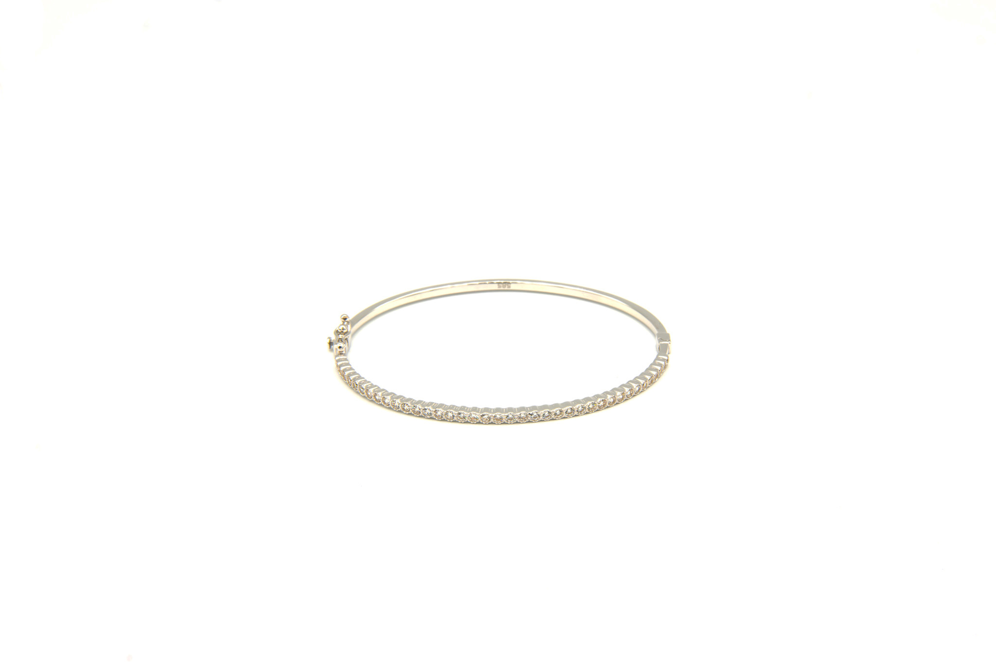 Armband slavenband met zirkonia's witgoud-1