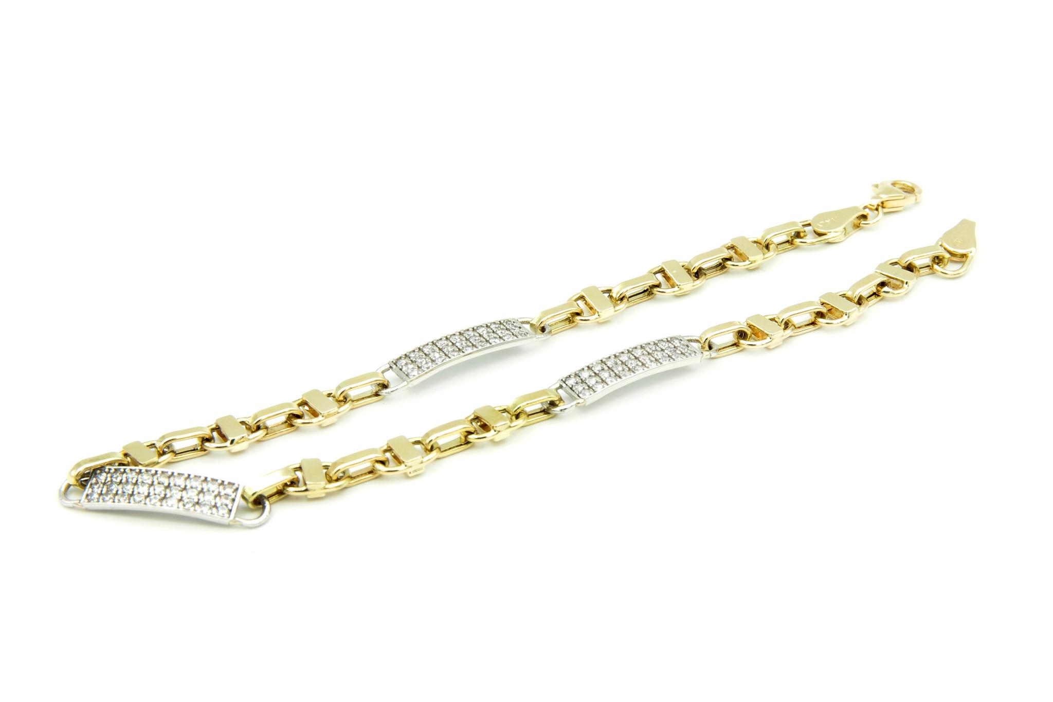 Armband geelgouden schakel en witgouden plaatjes met steentjes - Copy-3