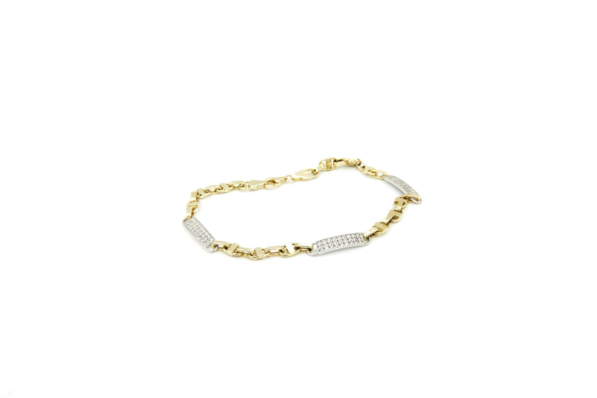 Armband geelgouden schakel en witgouden plaatjes met steentjes - Copy-5