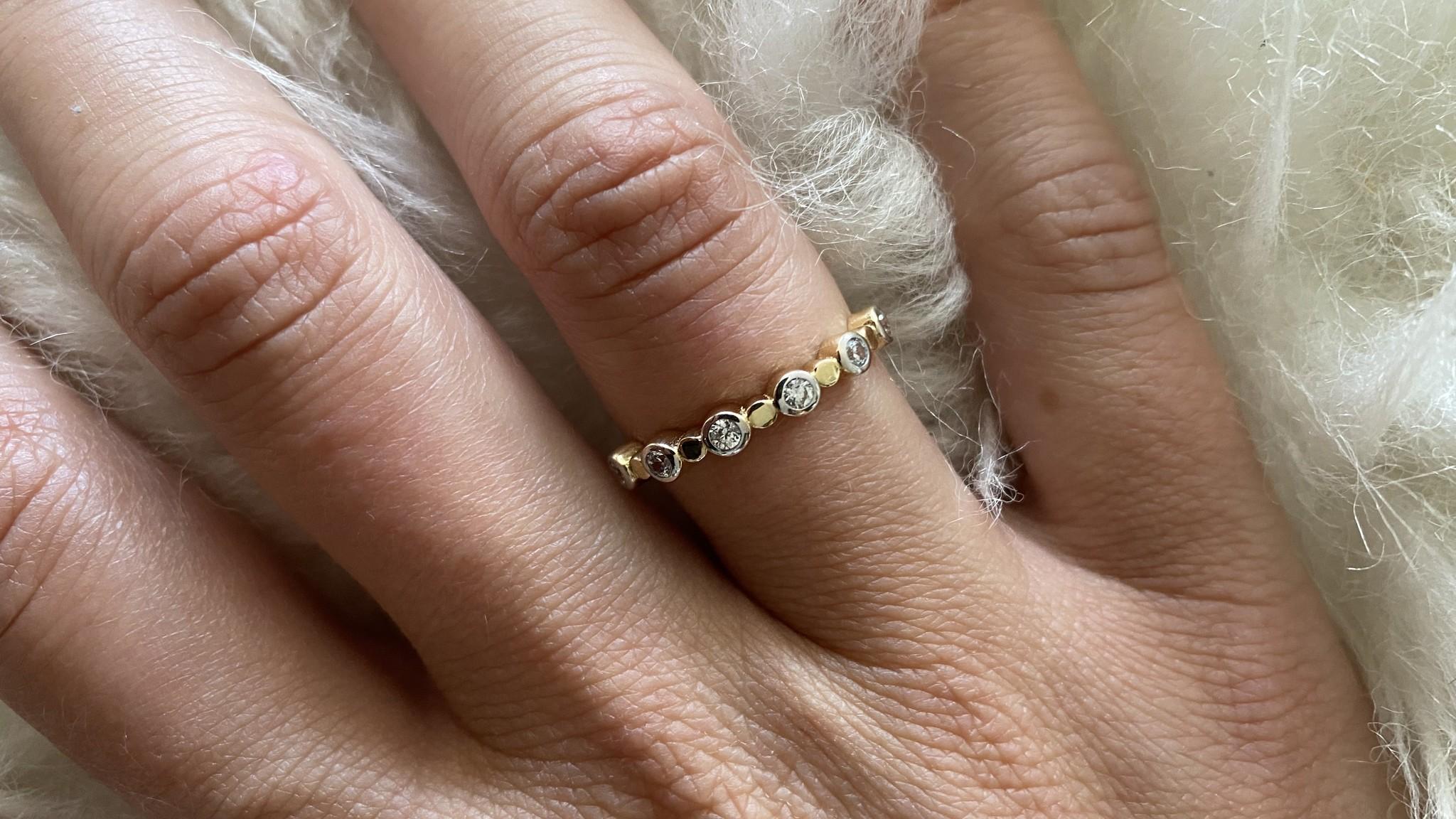 Ring met zirkonia's in rondjes bicolor-6