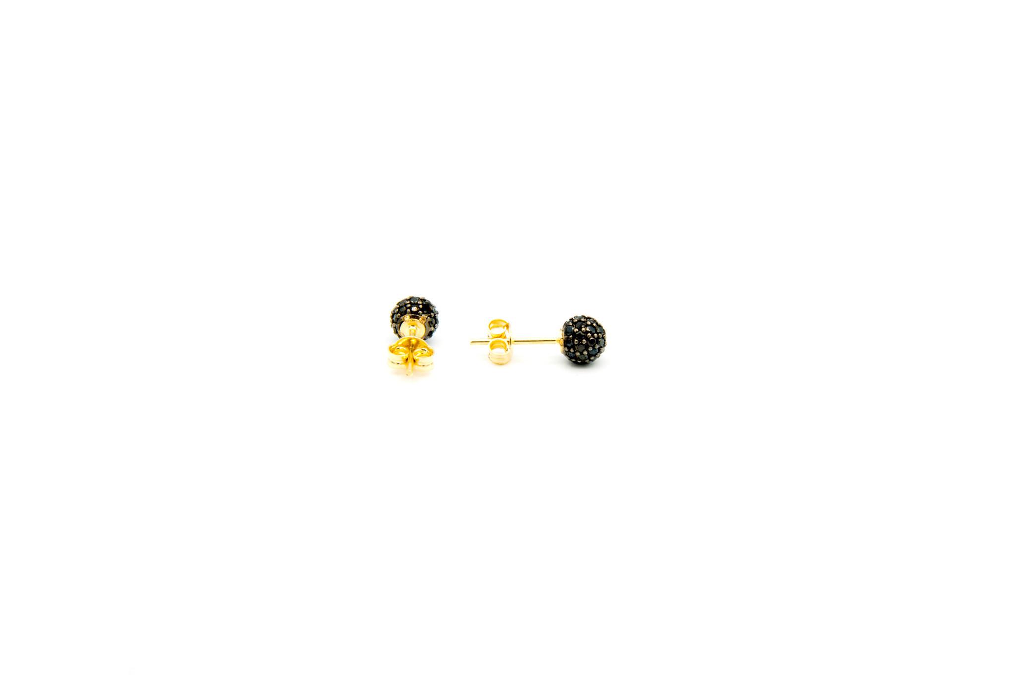 Oorbellen stekers met zwarte zirkonia's-2