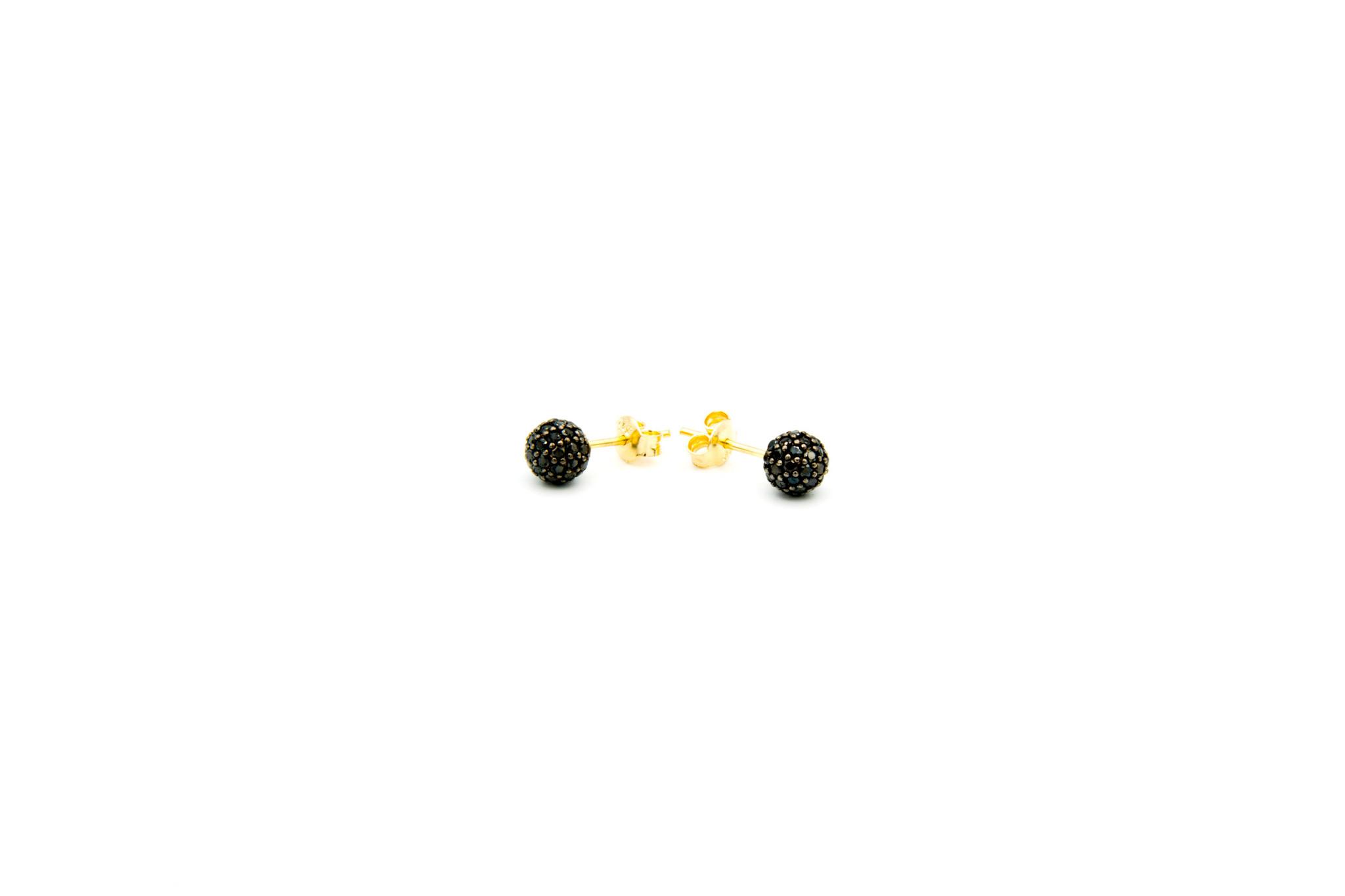Oorbellen stekers met zwarte zirkonia's-3