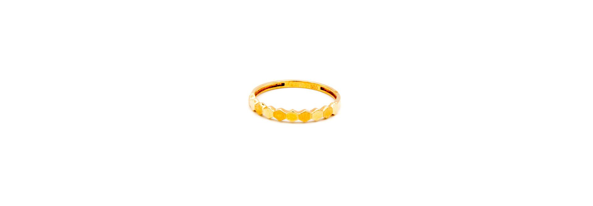 Ring 6-hoekjes glad en gematteerd roségoud