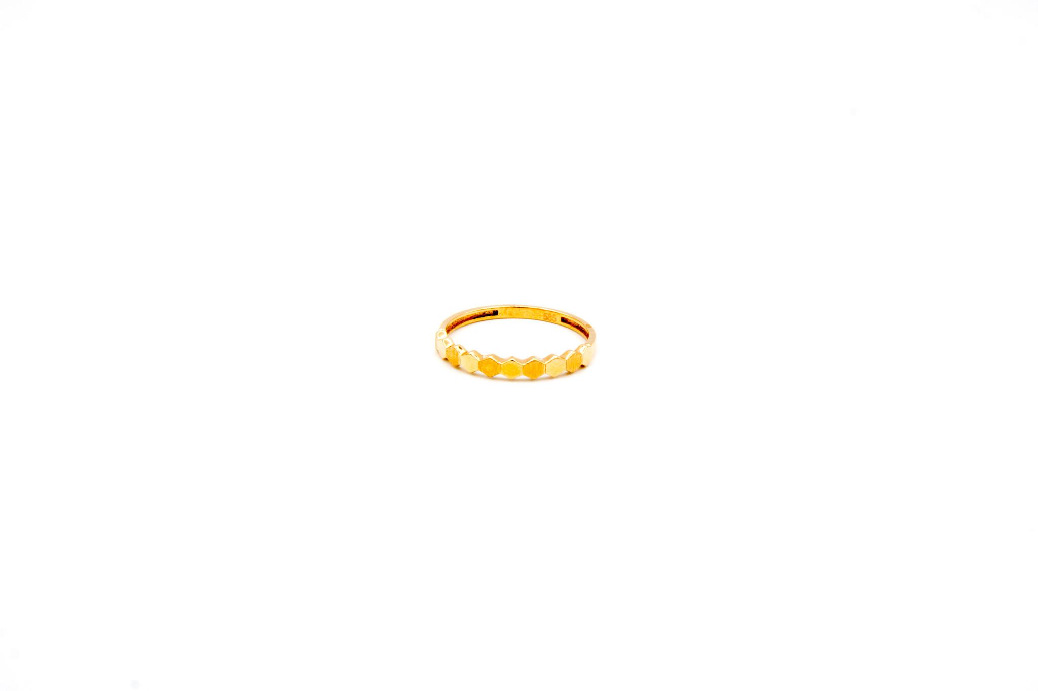 Ring 6-hoekjes glad en gematteerd roségoud-1