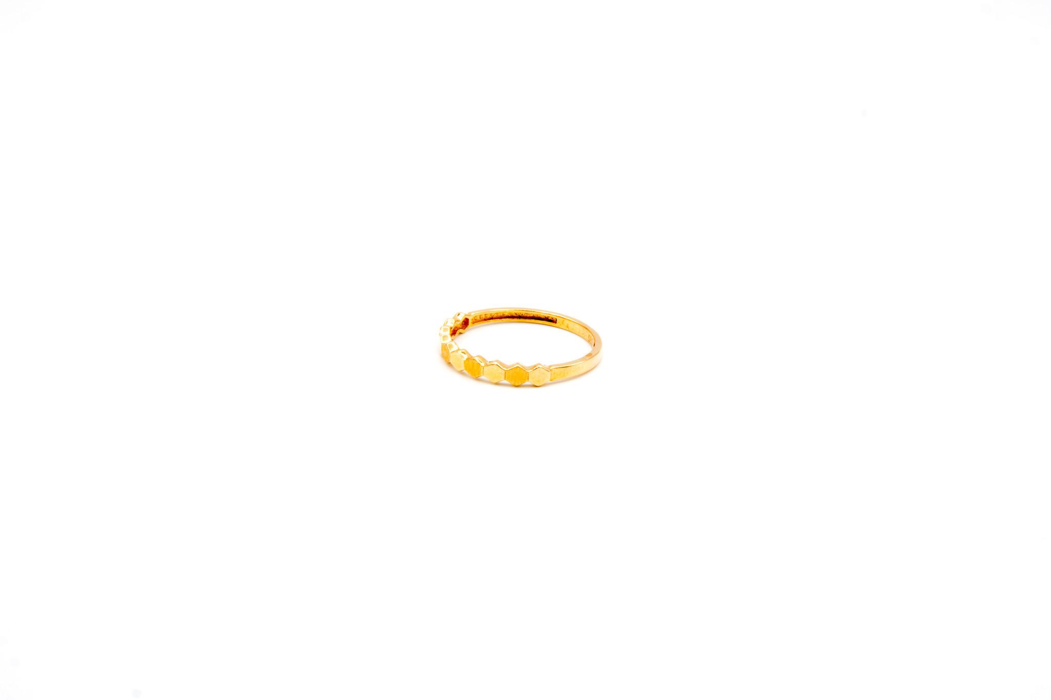 Ring 6-hoekjes glad en gematteerd roségoud-2