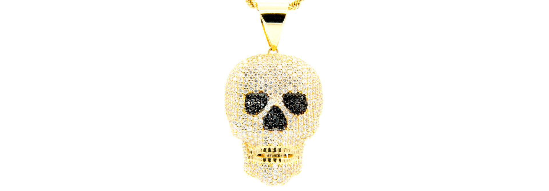 Hanger skull met witte en zwarte zirkonia's