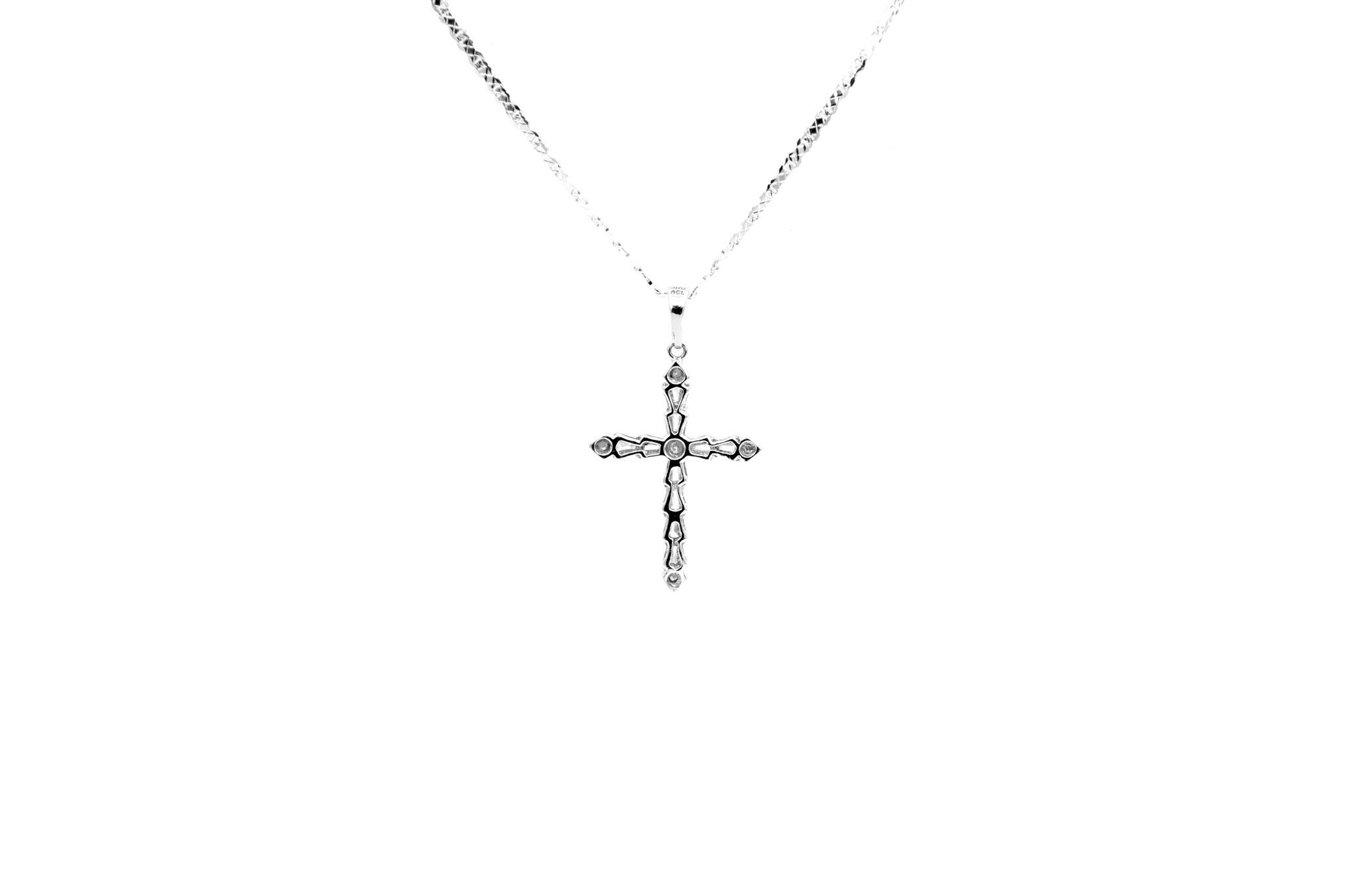 Hanger kruisje witgoud met diamantjes bicolor-2