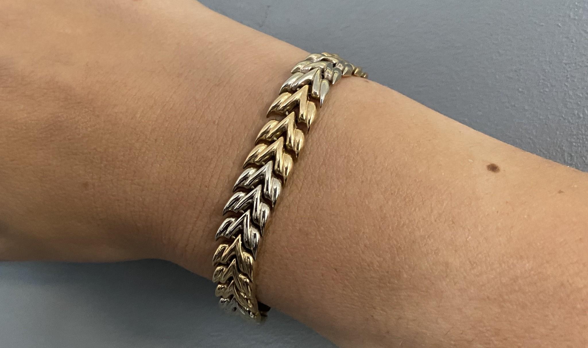 Armband visgraatschakel bicolor-2