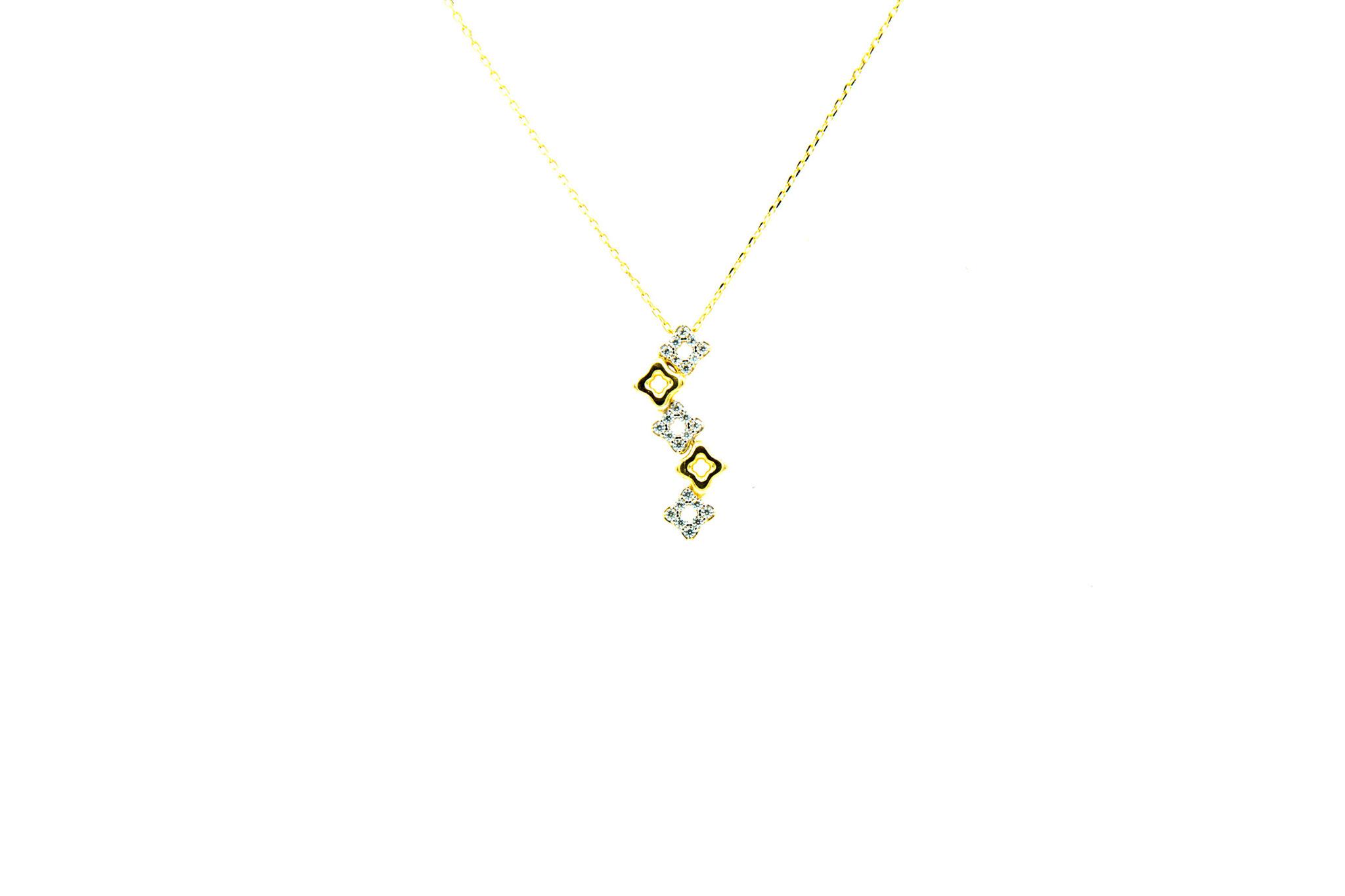 Ketting met vaste hanger sliertje blokjes met zirkonia's-3