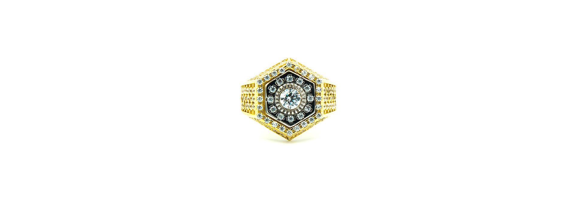 Ring zegel zeshoek met zirkonia's bicolor