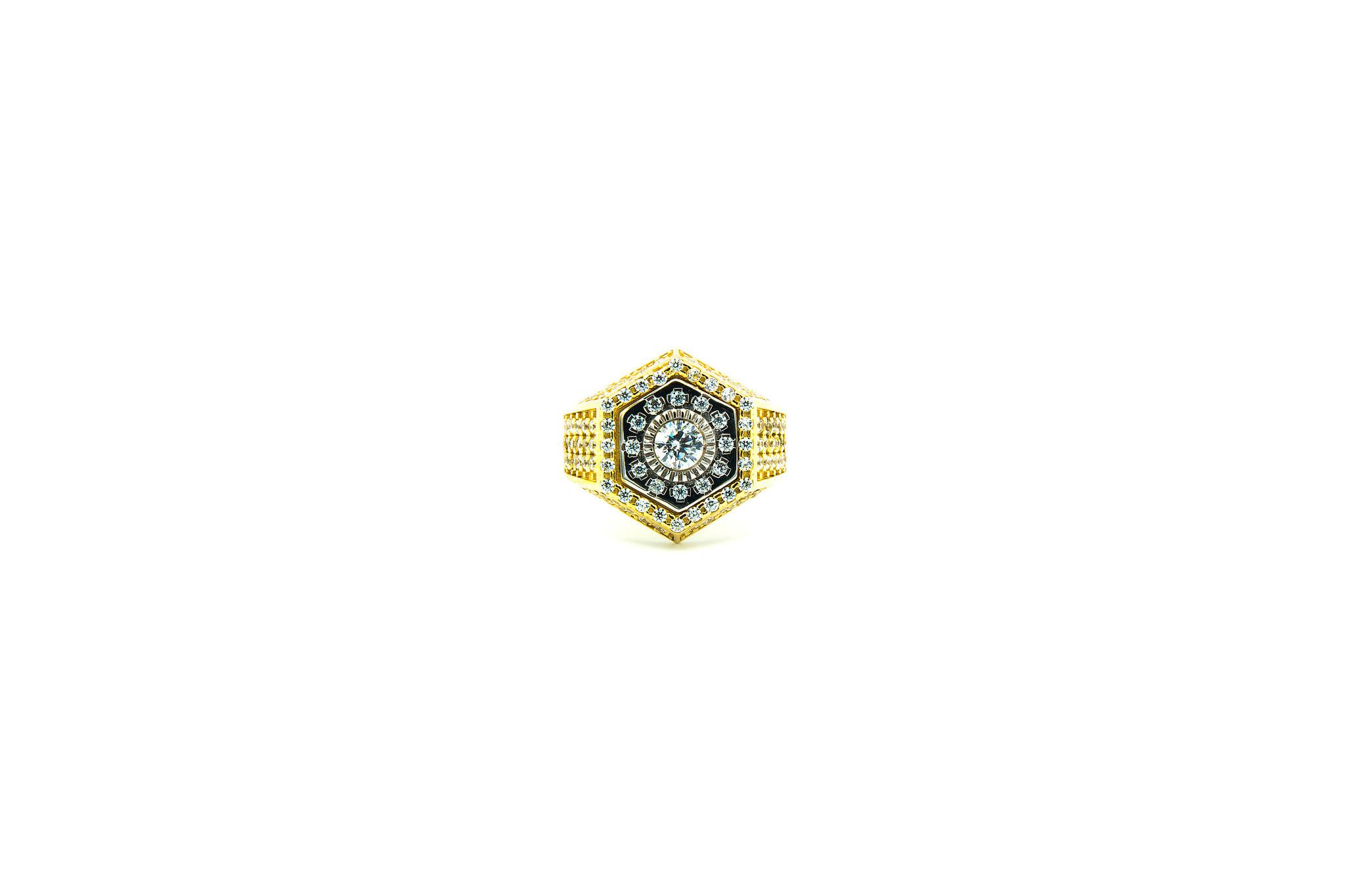 Ring zegel zeshoek met zirkonia's bicolor-1