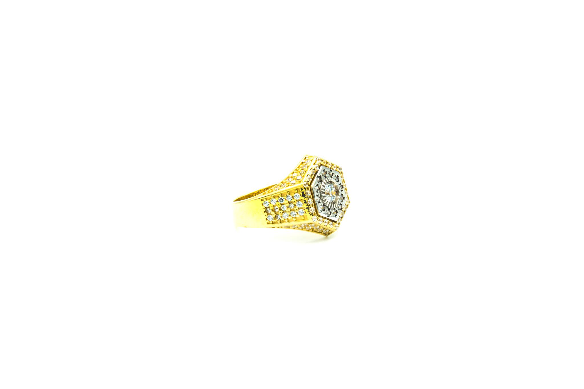Ring zegel zeshoek met zirkonia's bicolor-2